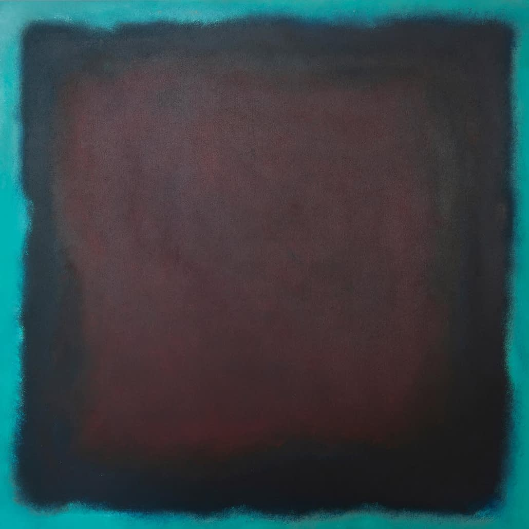 ITALY | dark-red-turqouise | 2010 | oil on wood | 100 x 100cm